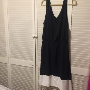 Bar III Black and white border asymmetrical dress
